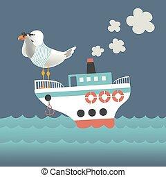 verrekijker, het kijken, zeemeeuw, door, schip