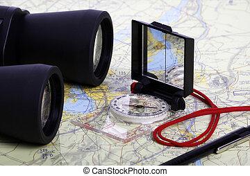 verrekijker, kaart, compas, -1