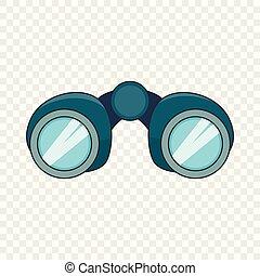verrekijker, pictogram, stijl, ontdekkingsreiziger, spotprent