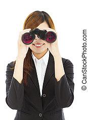 verrekijker, vrouw, aantrekkelijk, zakelijk