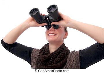 verrekijker, vrouw, op, in het oog krijgen