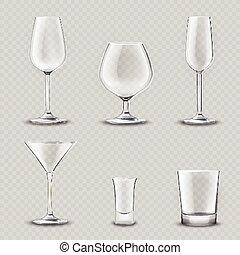 verrerie, ensemble, transparent