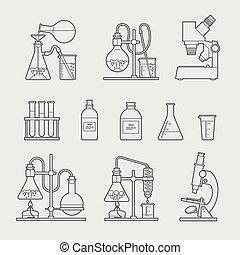 verrerie, icônes, chimique, set.