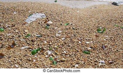 verrerie, lot, plage, cassé