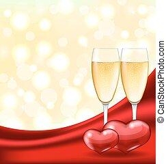 verres vin, résumé, fond, cœurs, champagne, couple