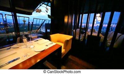 verres vin, restaurant, bougies, salon, stand, table, décoré