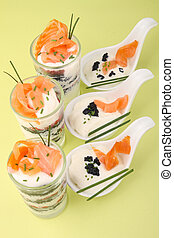 verrine and spoon of salmon - appetizers, verrine and spoon