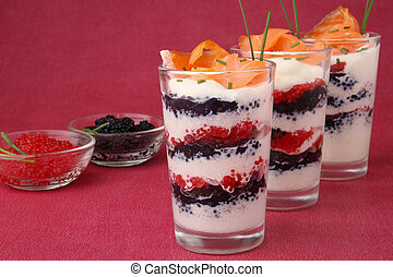 verrine, appetizer - verrine of salmon, cream and lumpfish ...