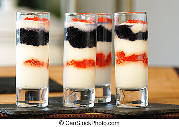 Verrine - Delicious jar with colorful fish eggs, fresh input