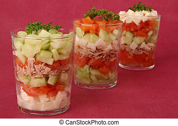 verrine of fresh vegetable - verrine of vegetable, cuculber...