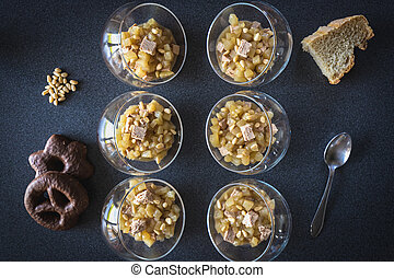 Verrine of pear foie gras and pine nuts in French cuisine