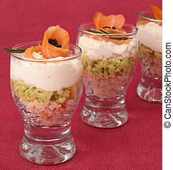 verrine of salmon and avocado - appetizer, verrine of salmon