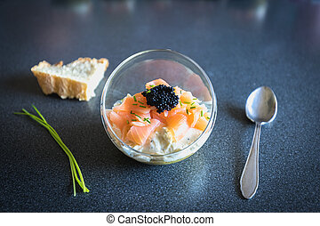 verrine salmon lumpfish egg fresh cheese and avocado bed in ...