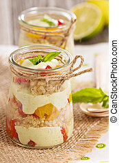 Verrine with quinoa, bell pepper and avocado cream