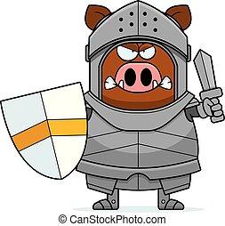 verro, cavaliere, arrabbiato, cartone animato