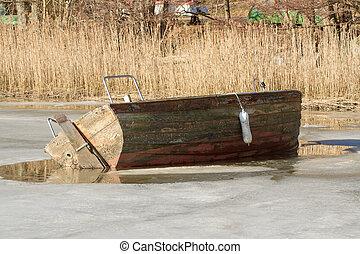 verrouillé, glace, bateau