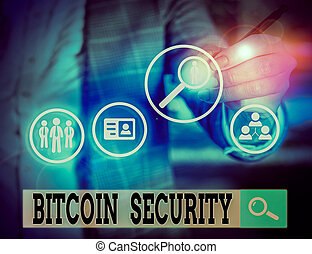 verrouillé, photo, business, note, bitcoin, projection,...