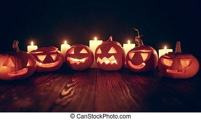 verrouillé, vidéo, bas, halloween, potirons, bougies, jack-o-latern