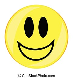 Verry Happy Smiley Face Button Isolated