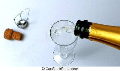 versé, flûte, champagne, être, o