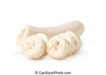 vers, afgesnijdenene, bananen, op, een, witte achtergrond