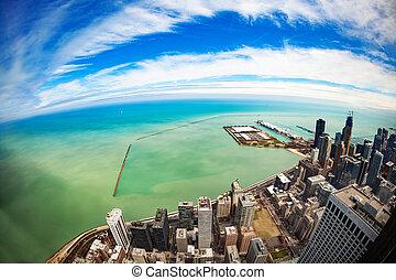 vers, en ville, jetée, marine, chicago, michigan