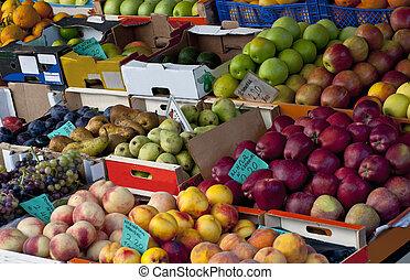 vers fruit, op, een, markt