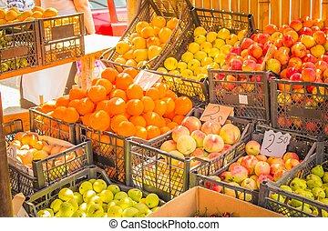 vers fruit, op, een, marktkraam