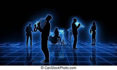vers, gens, animation., musicien, néon, engendré, loopable, silhouettes, informatique, grille, appareil-photo., en mouvement, seamlessly, animation