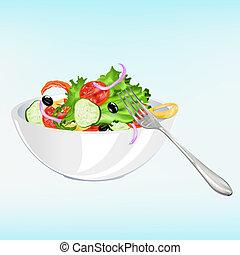vers plantaardig, vegetariër, slaatje