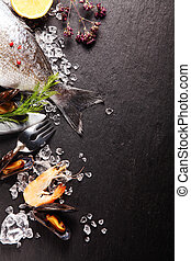 vers seafood, maaltijd, ingredienten