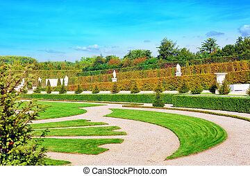VERSAILLES FRANCE - SEPTEMBER 21 Beautiful garden  Versailles, France on september 21, 2013. Palace Versailles was a Royal Chateau-most beautiful palace in France and word