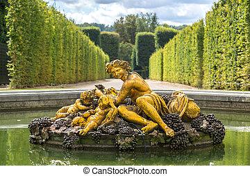 versailles, fuente, jardines, palacio