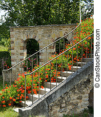 Versailles Queen's Hamlet - Stairs leading to a farmhouse at...