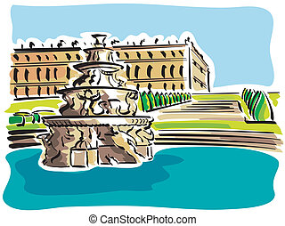 Versailles (The Palace) - illustration overview of the...