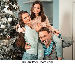 versammeln, baum, weihnachten, familie