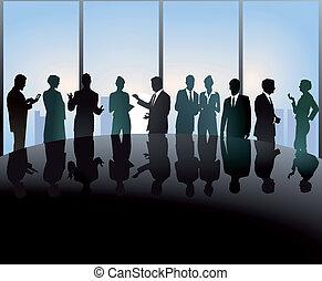 versammlung, an, konferenztisch