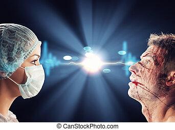versammlung, chirurg, patient, aussehen