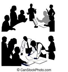 versammlung, geben, a, presentation.