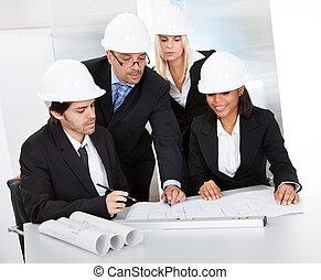 versammlung, gruppe, architekten