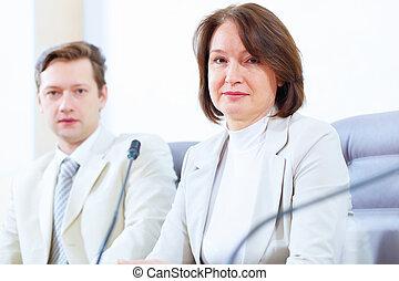 versammlung, zwei, businesspeople