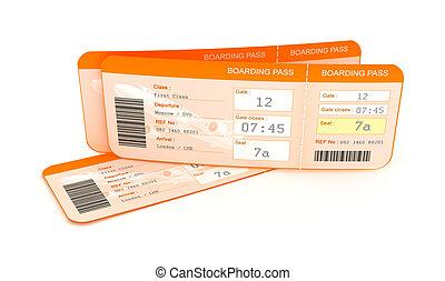 verschalendes flugzeug, tickets., passierschein