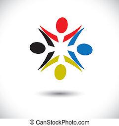 verscheidenheid, arbeider, abstract, &, kinderen, graphic-, optredens, concept, delen, geitjes, concepten, gemeenschap, vector, icons(symbols)., spelend, werknemer, zoals, kleurrijke, vakbonden, illustratie, vriendschap, enz., vrolijke