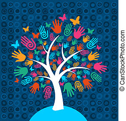 verscheidenheid, boompje, achtergrond, handen