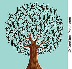 verscheidenheid, boompje, vrijstaand, mensen