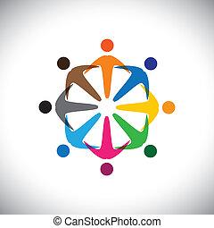 verscheidenheid, concept, mensen, graphic-, abstract, gemeenschap, &, vakbonden, werknemer, icons(signs)., verscheidenheid, kleurrijke, spelend, arbeider, illustratie, vertegenwoordigt, geitjes, zoals, delen, enz., vector, concepten, vriendschap