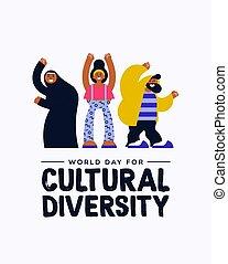verscheidenheid, cultureel, anders, vriend, groep, kaart