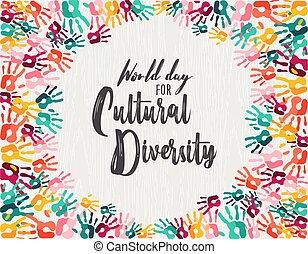 verscheidenheid, hand, cultureel, anders, afdrukken, dag, kaart