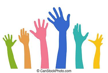 verscheidenheid, handen