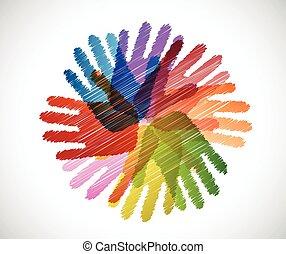 verscheidenheid, krabbelen, handen